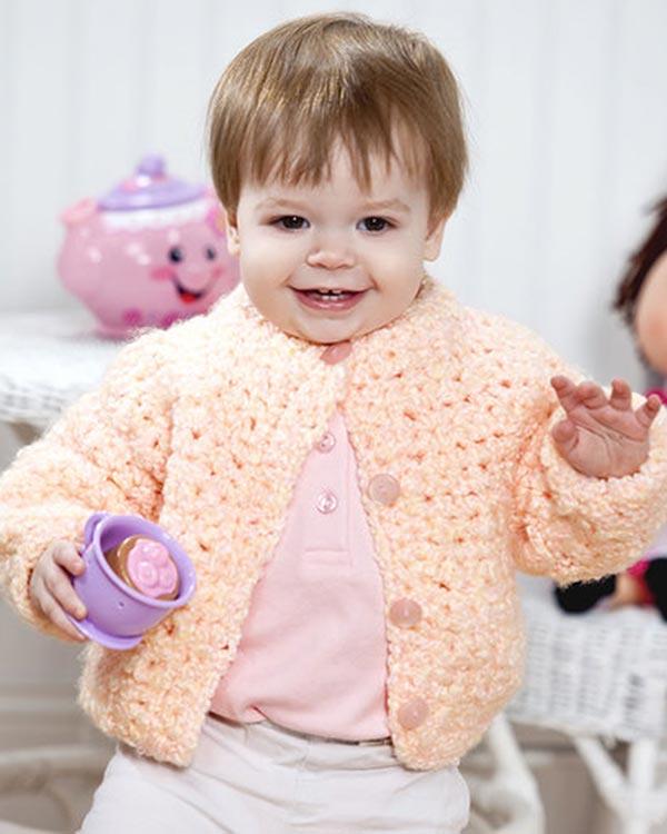 Free Huggable Baby Jacket Crochet Pattern from RedHeart com