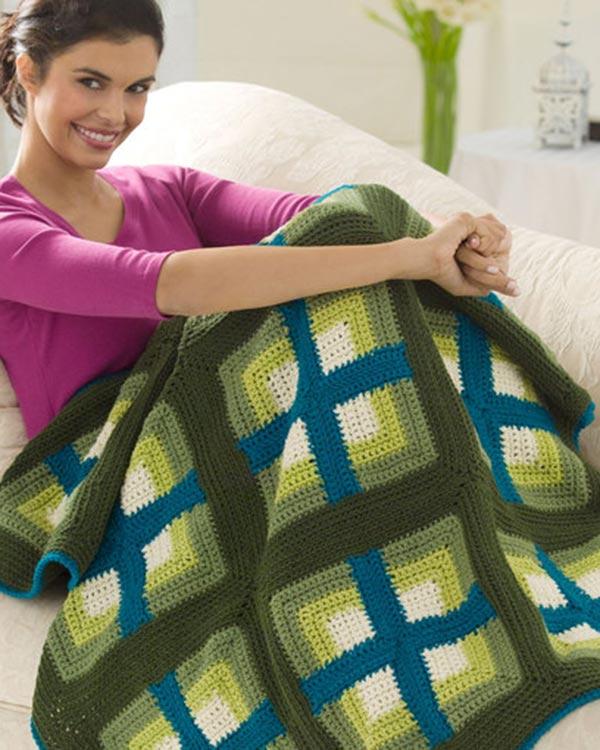 Free Windows Afghan Crochet Pattern from RedHeart com